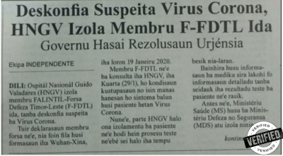 [FAKE] Suspected of being infected by Corona Virus, HNGV isolated a member of F-FDTL